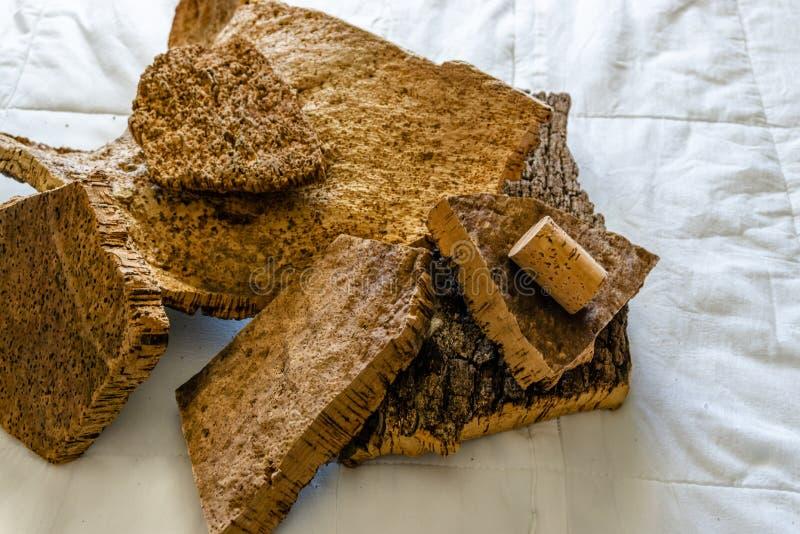 Nahaufnahme von fertigem Cork Bark Ready für die Herstellung in Korken lizenzfreies stockbild