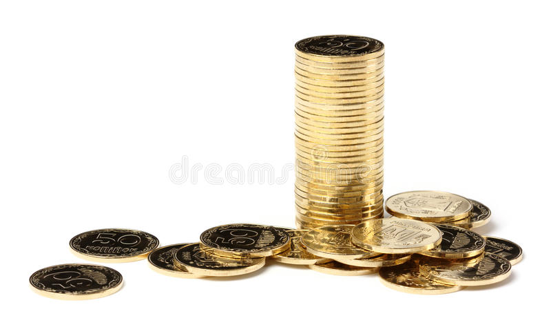 Nahaufnahme von goldene Münzen stockbilder