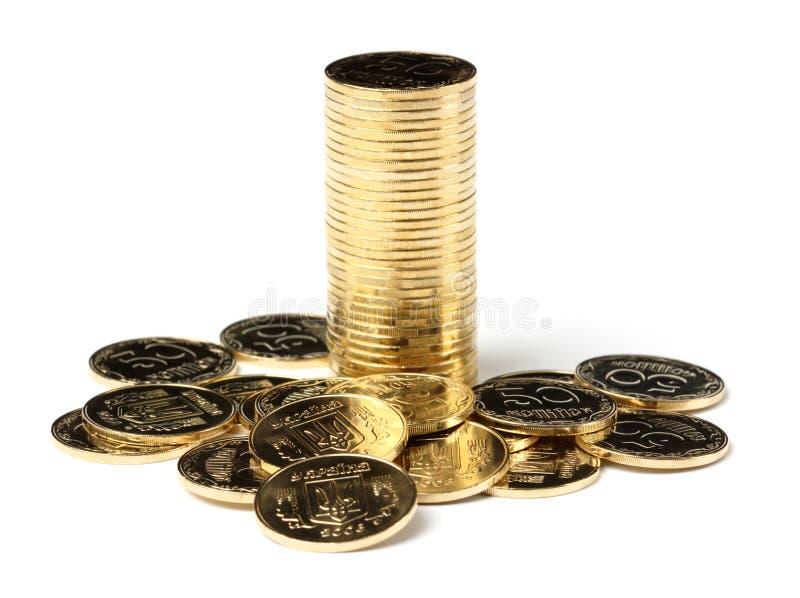 Nahaufnahme von goldene Münzen stockbild
