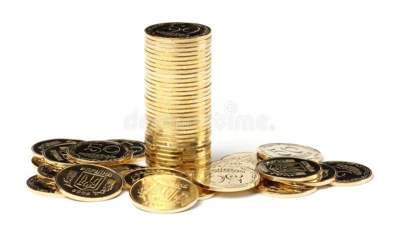 Nahaufnahme von goldene Münzen stockfotos
