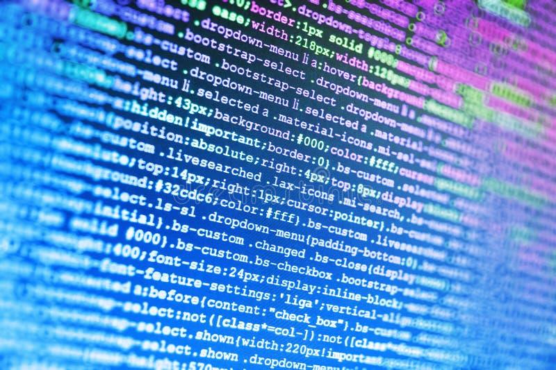 Nahaufnahme von Java Script, von CSS und von HTML stockfoto