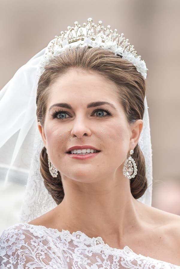 Nahaufnahme von Prinzessin Madeleines stellen nach der Heirat gegenüber stockfotografie