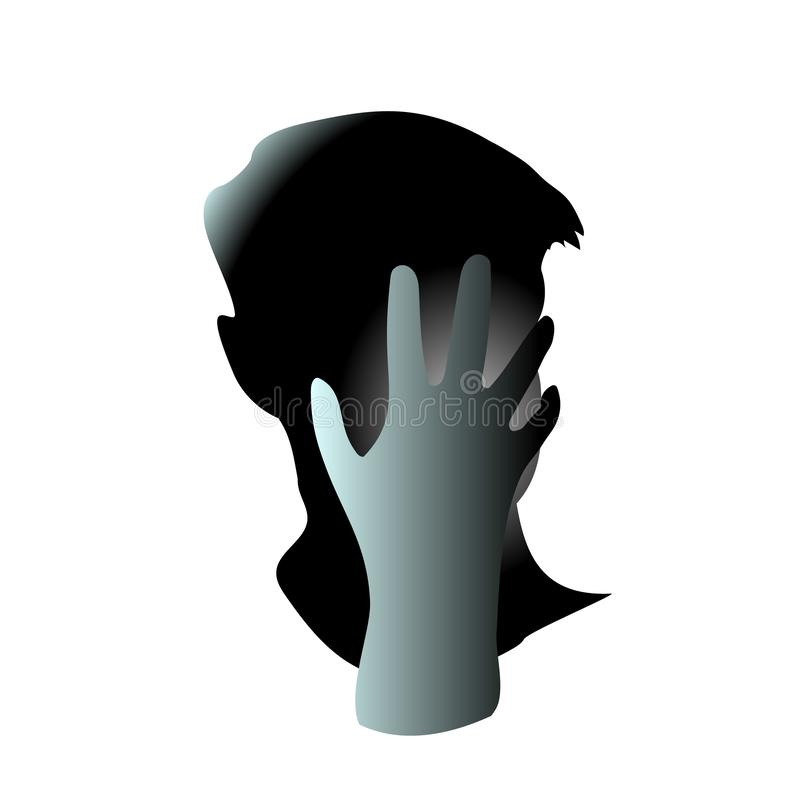 Nahaufnahme von seiner Hand schloss sein Manngesicht Die Hauptschmerzen und es sind möglicherweise wegen des Bedauerns oder Angst vektor abbildung