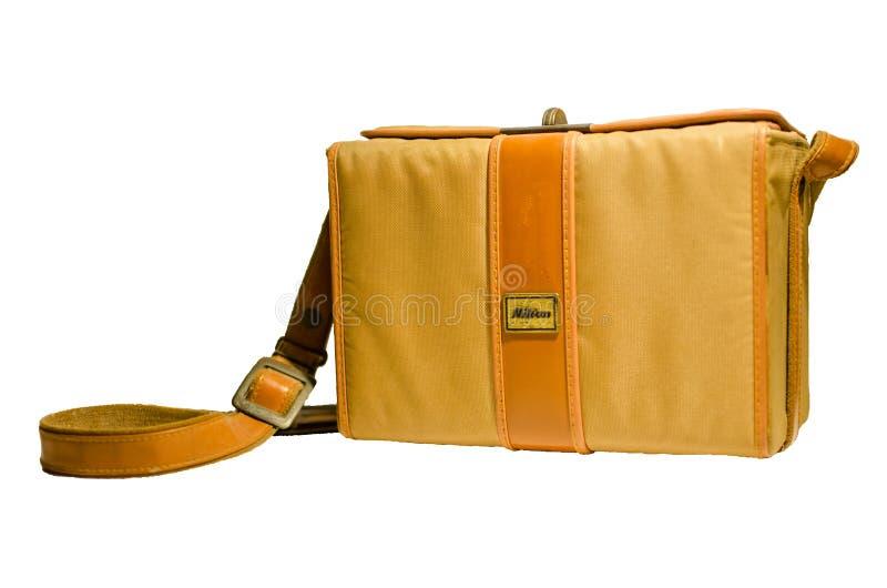 Nahaufnahme-Weinlese Nikon-Kameratasche in der braunen Farbe lizenzfreie stockbilder