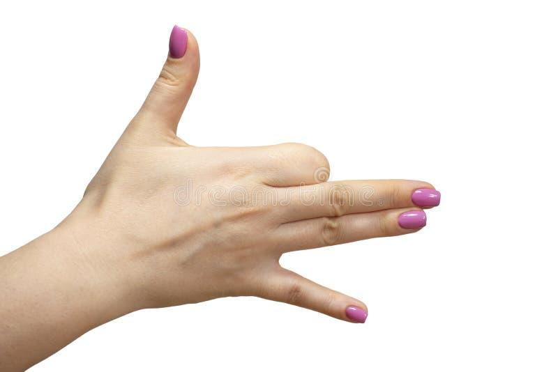 Nahaufnahmeansicht von Händen mit Maniküre des lokalisierten Bildes der jungen Frau lizenzfreies stockfoto