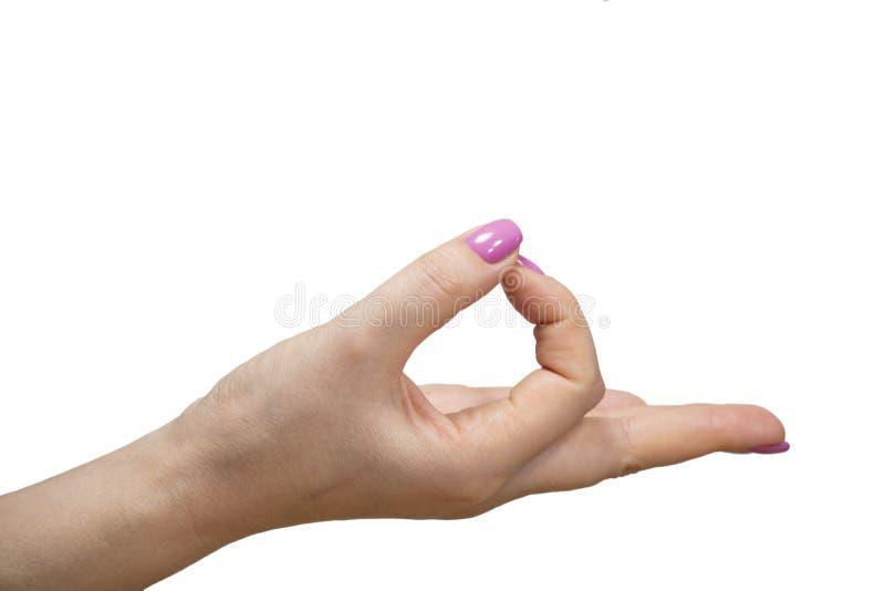 Nahaufnahmeansicht von Händen mit Maniküre des lokalisierten Bildes der jungen Frau lizenzfreie stockfotografie