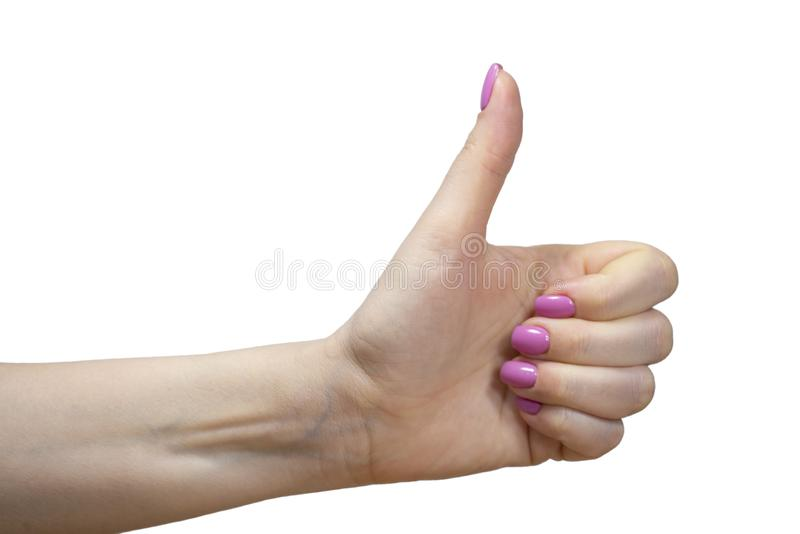 Nahaufnahmeansicht von Händen mit Maniküre des lokalisierten Bildes der jungen Frau stockbilder