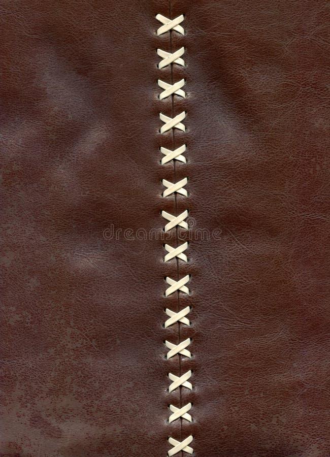 Nahaufnahmedetails des Schnürens auf braunem Leder lizenzfreie stockfotos