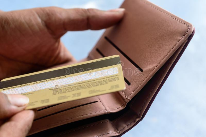 Nahaufnahmefoto der jungen Geschäftsfrau setzend oder herausnehmend oder mit Kreditkarte in der ledernen Geldbörse auf weißem Hin lizenzfreies stockbild