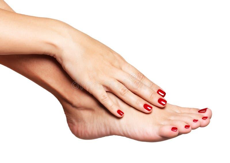 Nahaufnahmefoto weiblichen Füße mit schöner roter Pediküre lizenzfreie stockbilder