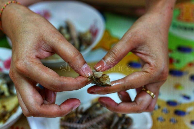 Nahaufnahmefotos des chef& x27; s-Hand, Frauen schnitzen Fische von den Fischen, um zu kochen stockfotos