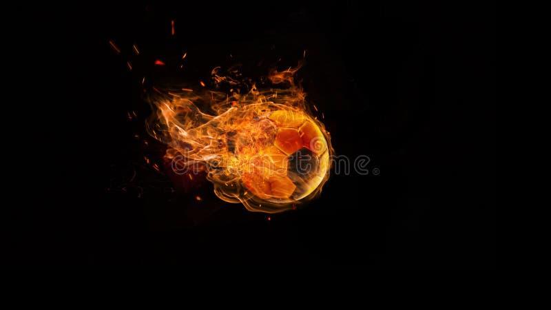 Nahaufnahmefußball im Feuer auf dunklem Hintergrund lizenzfreie stockfotografie