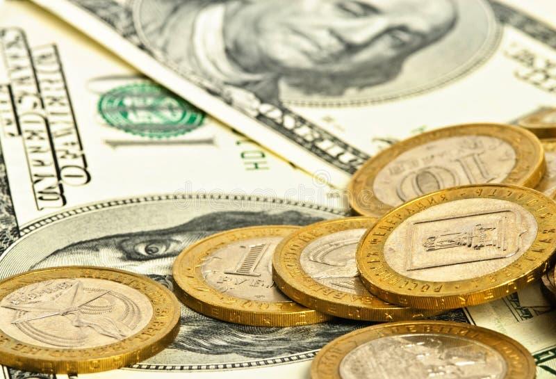 Nahaufnahmegeld-Dollarhintergrund stockfotos