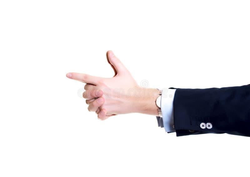 Nahaufnahmegeschäftsmannhände, zeigend wie eine Gewehr stockfotografie