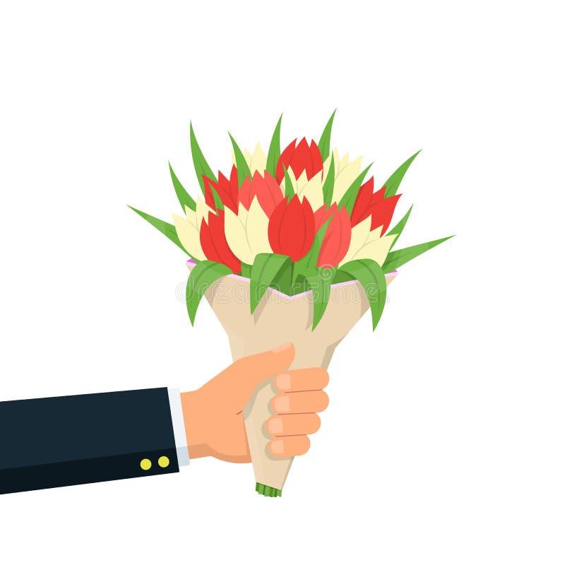 Nahaufnahmegeschäftsmannhandholding-Blumenstraußblumen Blumenstrauß der roten und weißen Tulpe Konzeptglückwunsch mit Feiertagen stock abbildung