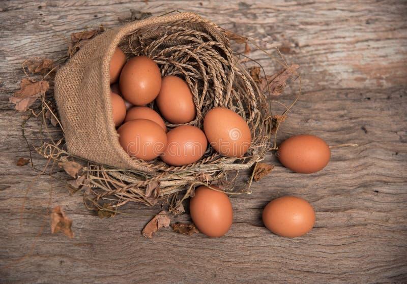 Nahaufnahmegruppe des rohen Eies setzte sich in Hanftasche lizenzfreies stockbild