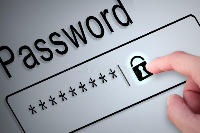 Nahaufnahmehandknopfverschluß schützen Passwort auf Schirm, aufpassen Soc stockfoto