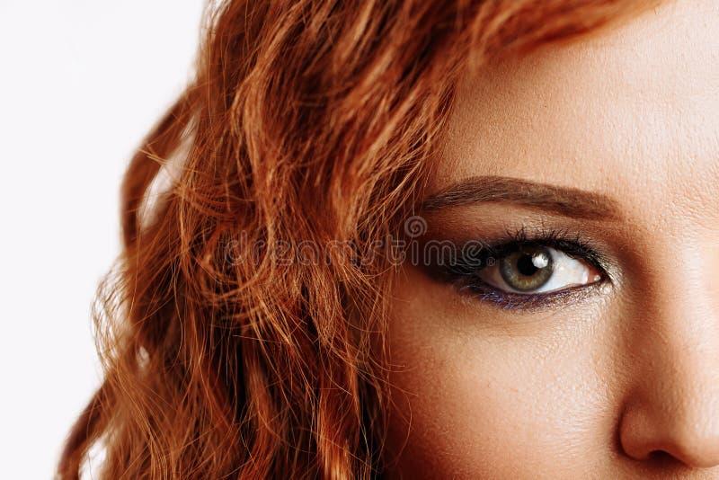 Nahaufnahmemakro des schönen weiblichen Auges lizenzfreie stockfotos