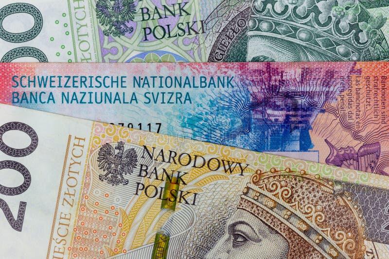 Nahaufnahmemakrophotographie des aufrichtigen und polnischen Zlotys GeschäftsGeldwechsel-Konzepthintergrund stockfotografie