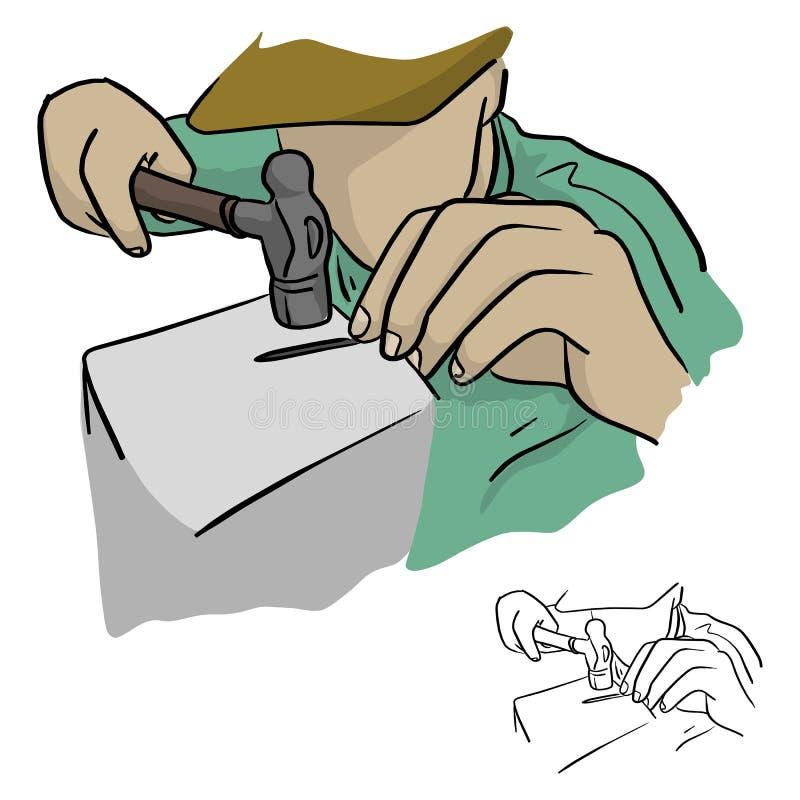 Nahaufnahmemann, der einen Hammer verwendet, um den Nagel geraden Vektorkranken zu machen lizenzfreie abbildung