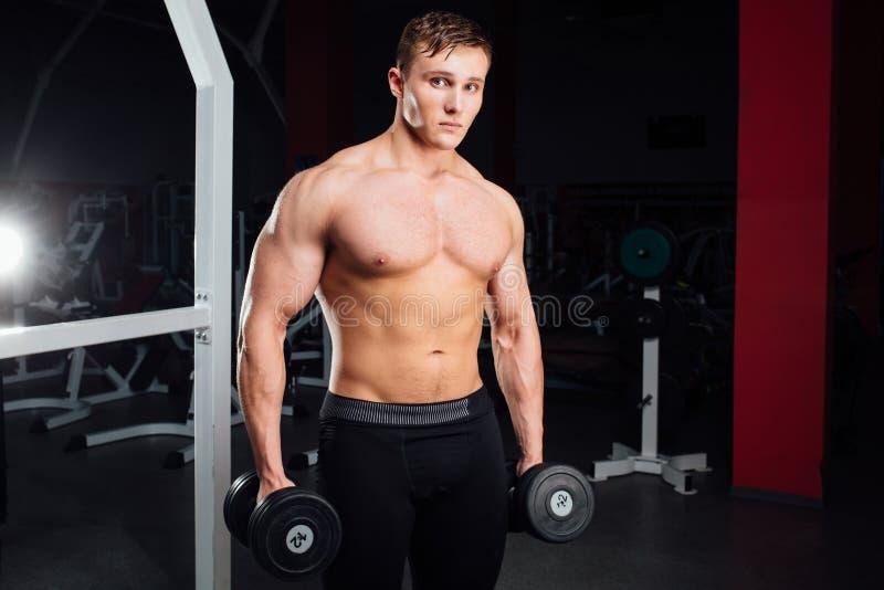 Nahaufnahmeporträt des Berufsbodybuildertrainings mit Barbell an der Turnhalle Überzeugtes muskulöses Manntraining schauen stockbild