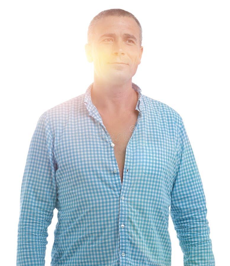 Nahaufnahmeporträt eines überzeugten Mannes lizenzfreies stockbild