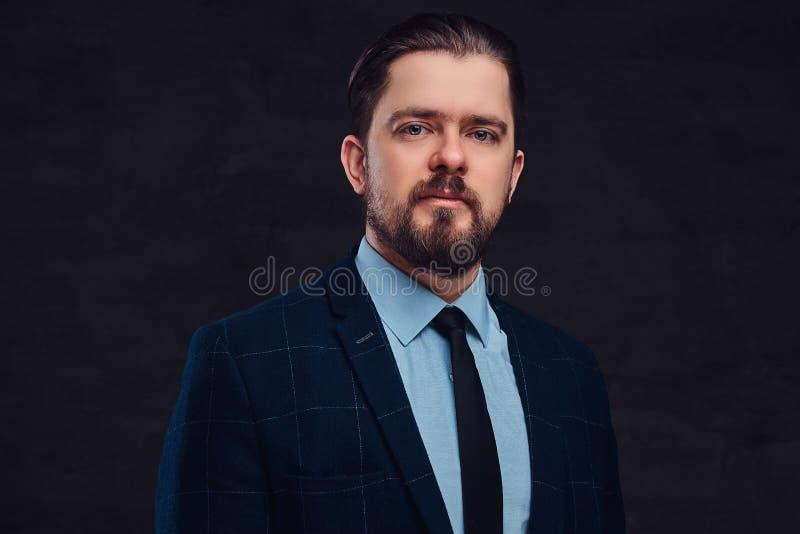 Nahaufnahmeporträt eines hübschen Mannes von mittlerem Alter mit Bart und Frisur kleidete in einem eleganten Gesellschaftsanzug a lizenzfreie stockbilder