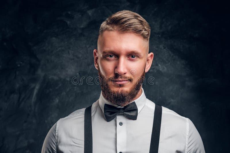 Nahaufnahmeporträt eines Mannes mit stilvollem Bart und des Haares im Hemd mit Fliege und Hosenträgern Studiofoto gegen Dunkelhei stockfotografie
