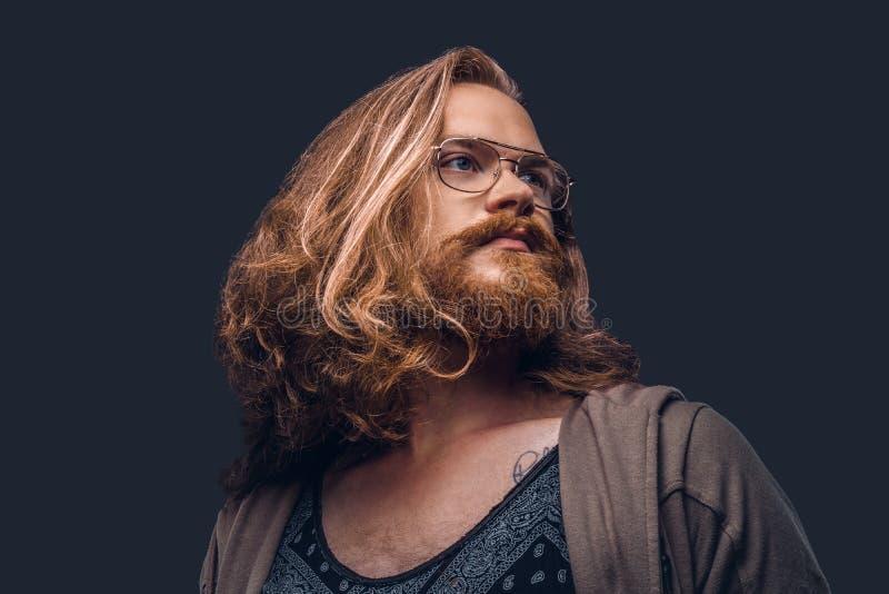 Nahaufnahmeporträt eines Rothaarigehippie-Mannes mit dem langem luxuriösem Haar und Vollbart kleidete bei der Stellung der zufäll stockfotografie