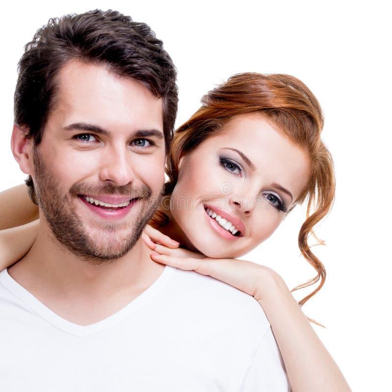 Nahaufnahmeporträt von schönen lächelnden Paaren. stockbild