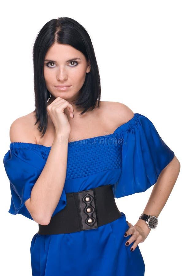 Nahaufnahmeportrait der Art und Weisefrau im Blau stockfotos