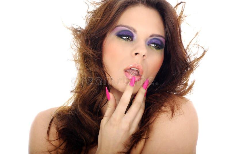 Nahaufnahmeportrait der schönen Frau mit professi lizenzfreies stockfoto