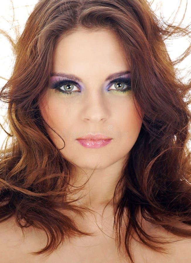 Nahaufnahmeportrait der schönen Frau mit professi lizenzfreie stockbilder