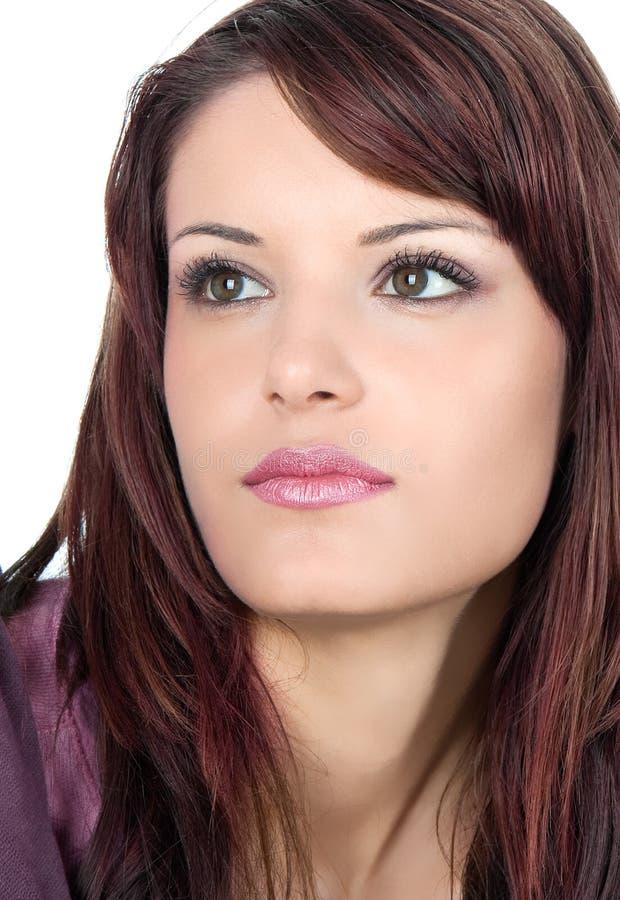 Nahaufnahmeportrait der schönen jungen Frau stockfotos
