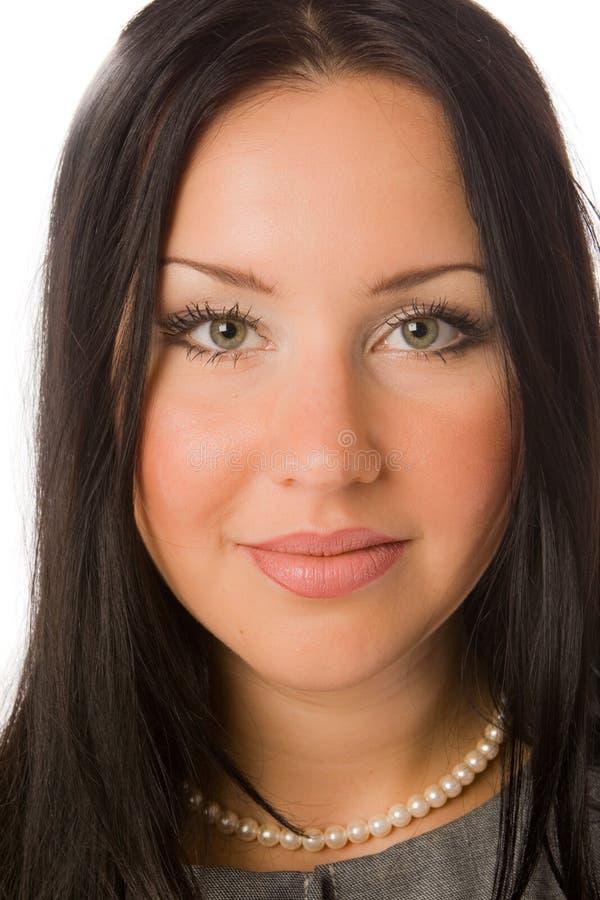 Nahaufnahmeportrait des hübschen Brunette getrennt stockbilder