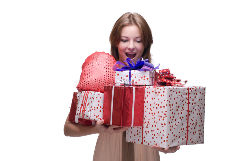 Nahaufnahmeportrait des Mädchens mit einigen Geschenken stockfotos