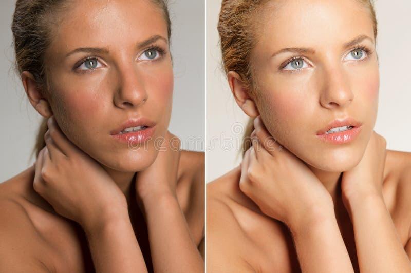 Nahaufnahmeschönheitsportrait der jungen, blonden Frau stockfoto