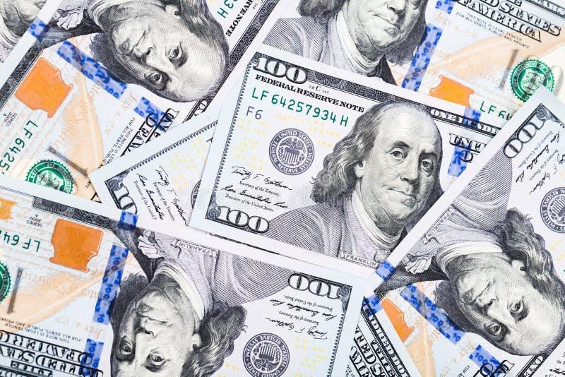 Nahaufnahmeschüsse in der Makrolinse einige hundert Dollar Banknote lizenzfreies stockbild