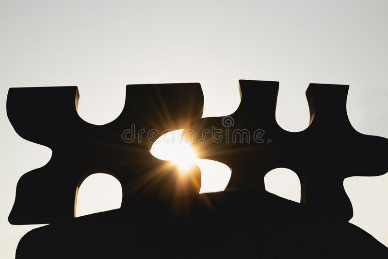 Nahaufnahmeschattenbildlaubsäge mit Sonnenschein auf der Rückseite stockbild