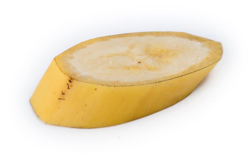 Nahaufnahmescheibe der ungeschälten natürlichen australischen gelben Banane lizenzfreie stockfotos