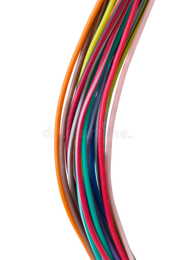 Nahaufnahmeschuß der verschiedenen farbigen Drähte lizenzfreies stockbild