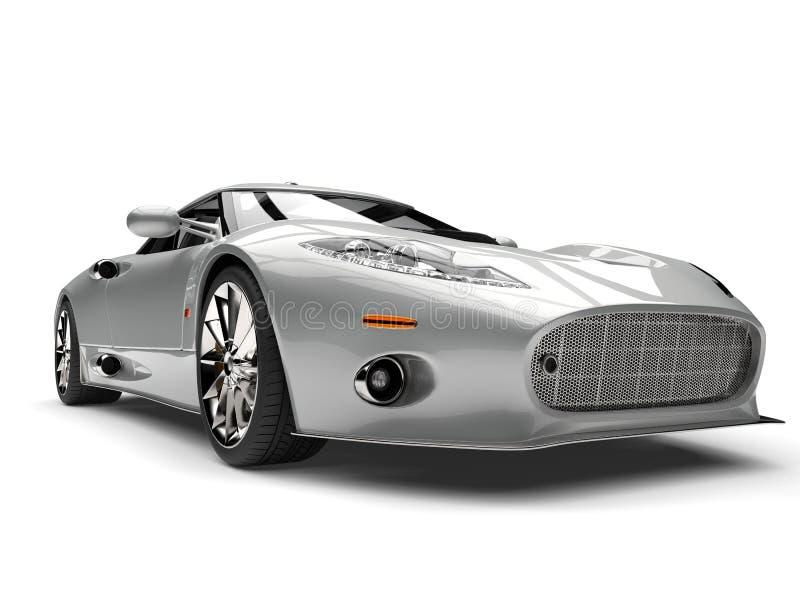 Nahaufnahmeschuß des niedrigen Winkels des modernen silbernen Supersports Motor- vektor abbildung