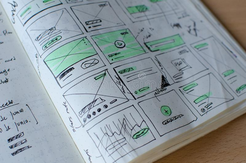 Nahaufnahmeschu? von UI-/UXentwurfs-Blattzeichnungen in einem Schreibheft stockfotografie