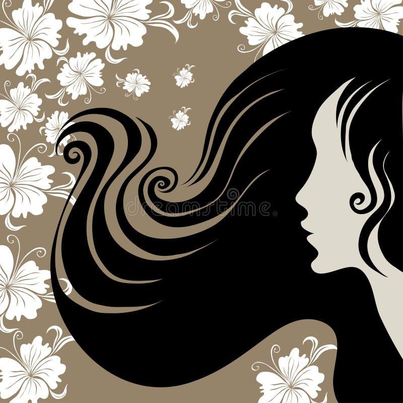 Nahaufnahmeweinlesefrau mit dem langen Haar mit Blume lizenzfreie abbildung