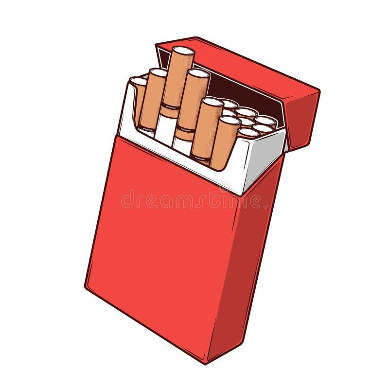 Nahaufnahmezigaretten in einem roten Paket lokalisiert auf einem weißen Hintergrund Farbliniekunst Retro- Auslegung stock abbildung