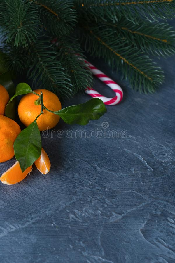 Nahaufnahmezitrusfrucht Helle reife Tangerinen mit grünen Blättern auf dar lizenzfreies stockfoto