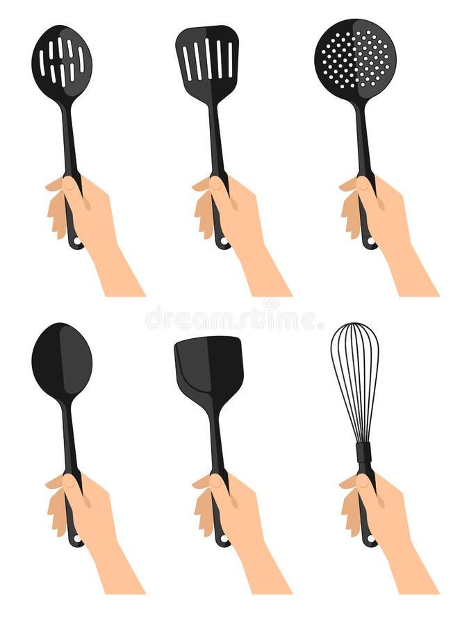 Nahds du ` s de femme avec les ustensiles noirs de cuisine d'isolement sur le dos de blanc illustration stock