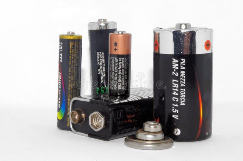Nahe Ansicht der Batteriesammlung lizenzfreies stockbild