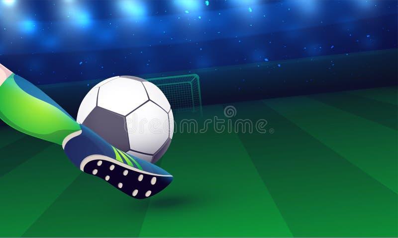 Nahe Ansicht eines Fußballspielerbeines, beim Treten eines Fußballs gehen herein stock abbildung