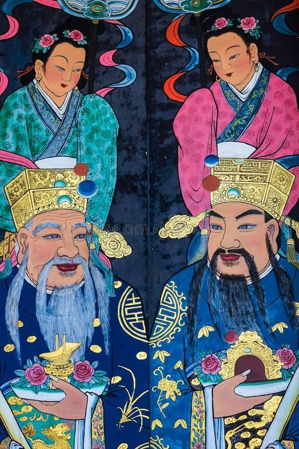 Nahe an den bemalten Türen des Han Jiang-Ancestral-Tempels, chinesischer Taoist-Teochew-Tempel, Georgetown of Penang, Malaysia stockfoto